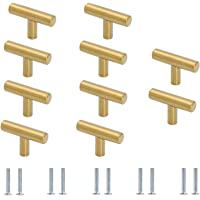 10 stuks ladeknoppen, één gat gouden kast knoppen, T handgrepen kast kast, keukenkast deurgrepen, met schroeven, voor…