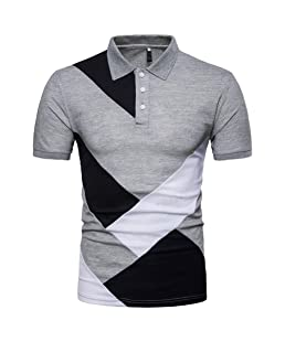 Pocciol T Shirt, Men's Summer Fashion Short Sleeve Soft Color Design Blouse Camis Tanks (Gray, L)