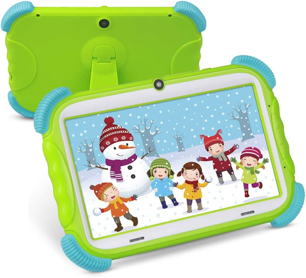 Tablet para Niños con WiFi Bluetooth 7 Pulgadas 1024x600 Tablet Infantil de Android 9.0 Quad Core 2GB 16GB Doble Cámara Kid-Proof Funda Tablet Niños Educativo Verde