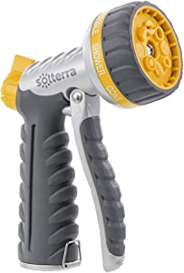 Solterra 56296 8-Pattern Garden Hose High-Flow Nozzle with Front Trigger, Gray