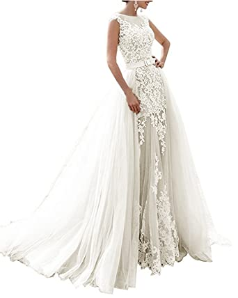 2e308b2517e APXPF Women s Mermaid Two Pieces Lace Long Wedding Dress with Detachable  Tulle Skirt Ivory US2