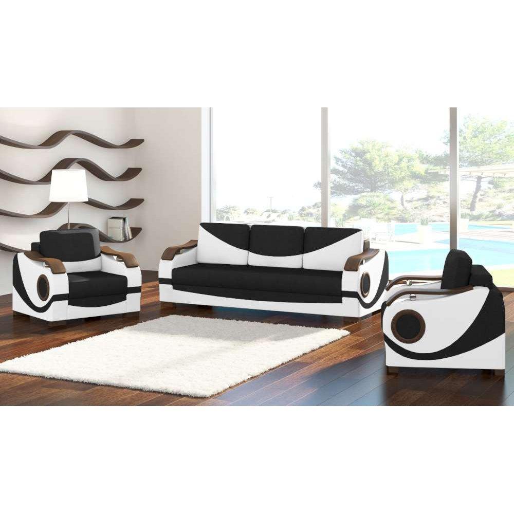 JUSThome Puerto Wohnzimmerset Polstergarnitur Polstermöbel Ecoleder Strukturstoff (3+1+1) Weiß Schwarz
