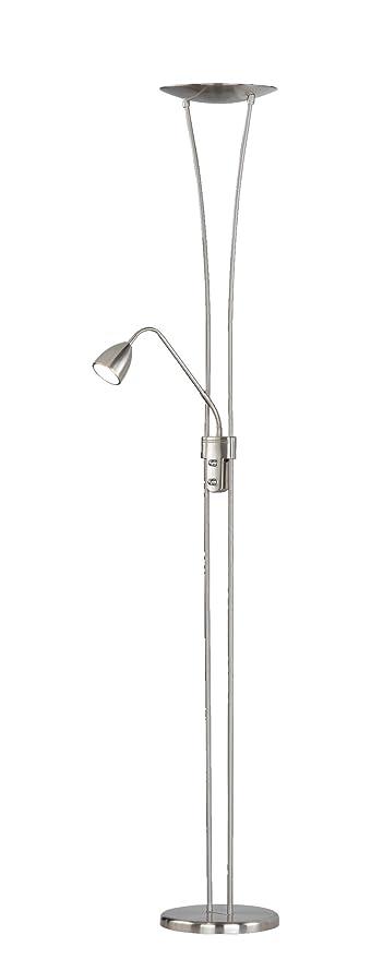Trio Arizona - Lámpara de pie con LED SMD superior de 20W y 1 LED SMD en brazo lector de 5W, ambos incluidos. Interruptores separados y regulador de ...