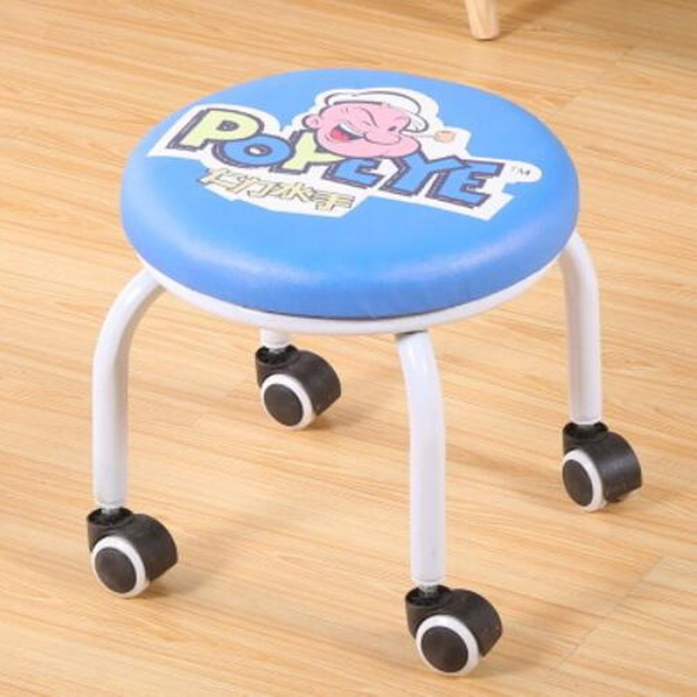 moxin Pulley Stool Fashion Stool Learning Chair Pulley Small Stool Low Stool Round Home Child Adult Sitting Stool Moveable Pattern Cushion, popeye pulley