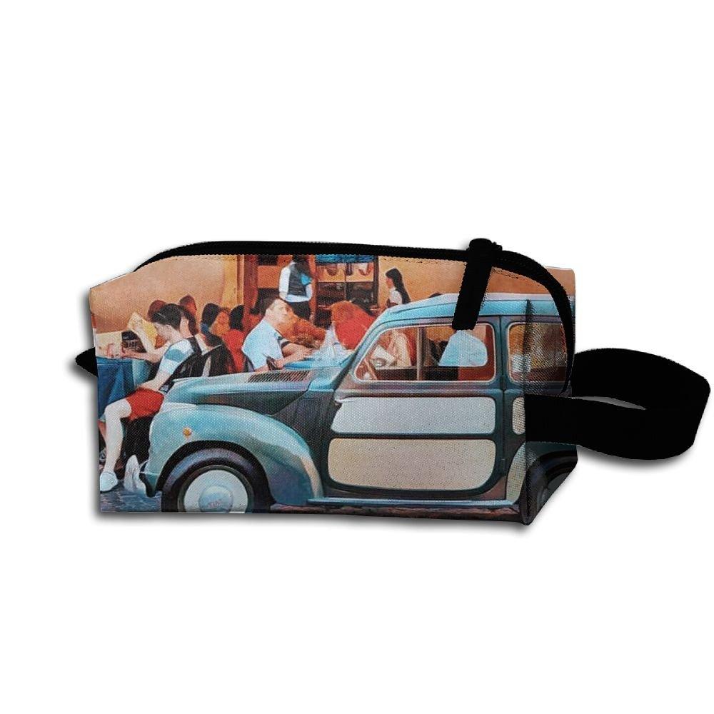 メイクアップコスメティックバッグTime to Enjoy Food Medicine Bag Zip旅行ポータブルストレージポーチforメンズレディース B07DWM5YGD