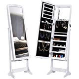 LANGRIA 10 LEDs Lockable Carved Jewelry Cabinet Standing Jewelry Armoire Holder Organizer with Additional Mirror Inside, White