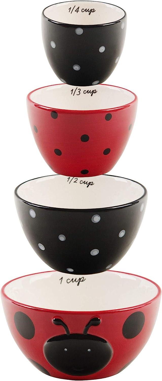 Home Essentials Ladybug Ceramic Measuring Cups Set of 4