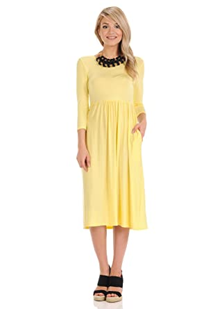 8a0b363fac iconic luxe Women s Solid Fit and Flare Midi Dress with Pockets Small Banana