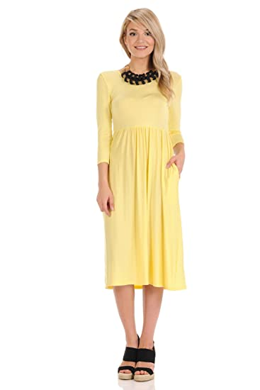 Iconic Luxe Women S Fit And Flare Midi Dress With Pockets In Solid