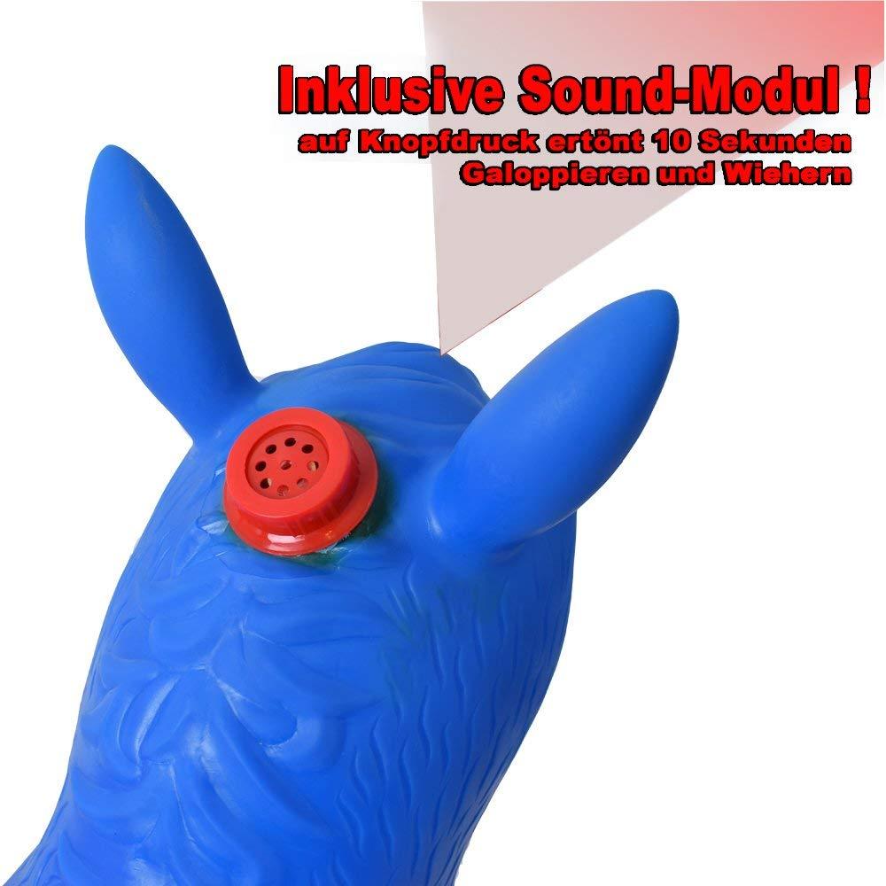 TE-Trend 2 Piezas Caballo Saltos Animal Sonido De Caballo Bomba Caballito para Saltar 50kg Carga Rojo Azul Mercanc/ía B Juego de 2 Rojo Azul