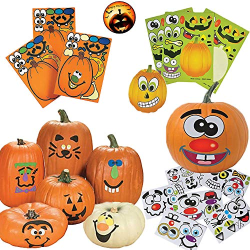 Sticker Pumpkin Decorating Pack for 12 People With 12 Foam Stickers, 12 Make-A-Jack-O-Lantern Sticker Faces for Pumpkins, and 24 Jack-O-Lantern Sticker Sheets with Halloween Pin by Another Dream!