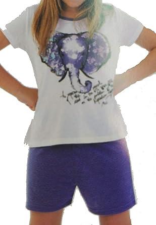 Pijama Massana niña cuello redondo y pantalón corto mod elefante (P161116) (12)