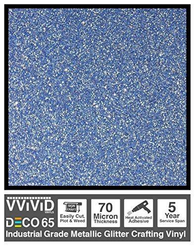 Blue Metallic Glitter - VViViD DECO65 Blue Flake Metallic Glitter Adhesive Vinyl 6ft x 1ft Craft Roll for Cricut, Silhouette & Cameo Plotting Machines