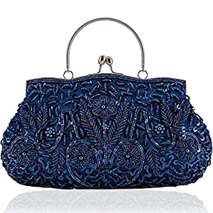 LONGBLE Women's Vintage Style Beaded Sequined Evening Bag Wedding Party Handbag Clutch Purse Kissing Lock (Blue A)