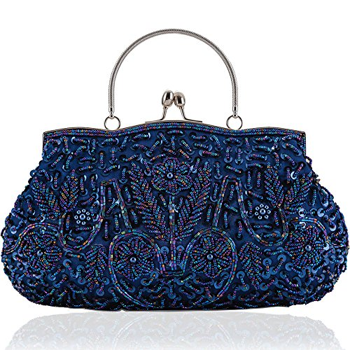 LONGBLE Women's Vintage Style Beaded Sequined Evening Bag Wedding Party Handbag Clutch Purse Kissing Lock (Blue (Beaded Purse Handbag Bag)