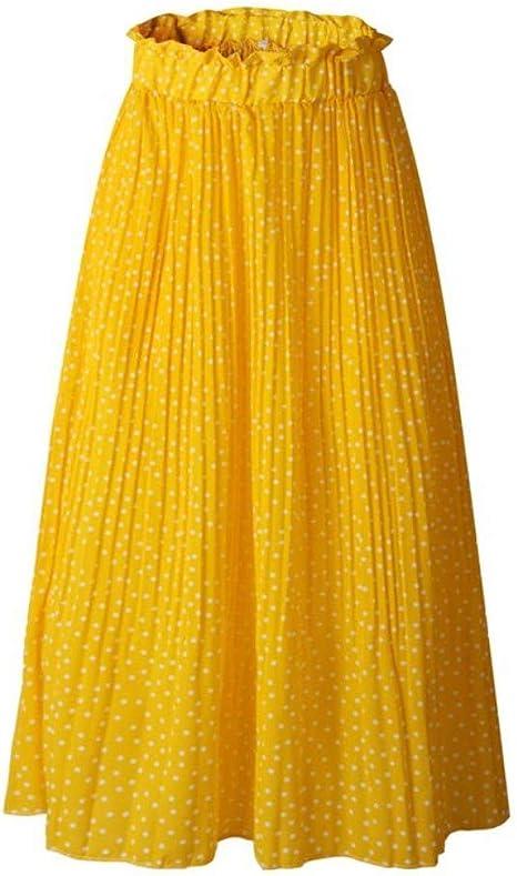 HEHEAB Falda,Puntos Blancos Amarillos De Impresión Plisado Falda ...