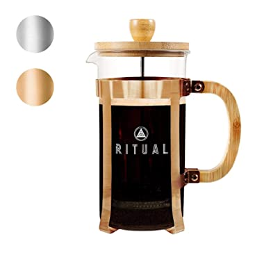 Ritual French Coffee Press, Bamboo Wood, Borosilicate Glass, and Copper Color Frame, Coffee Maker with Bonus Filter 36oz/1000ml