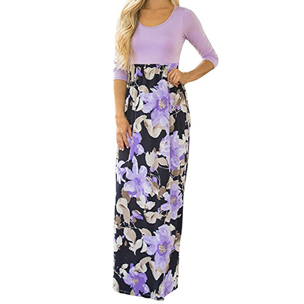 Fanyunhan Women's Floral Print Long Dress Casual Three Quarter Sleeve Tunic Boho Maxi Dress Purple