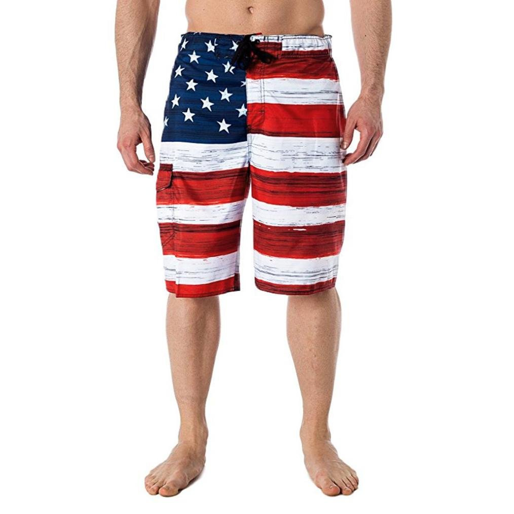 Serzul Mens Shorts Summer American Flag Print Independance Day Inspired Board Pants (L, Red) by Serzul_Pants (Image #1)