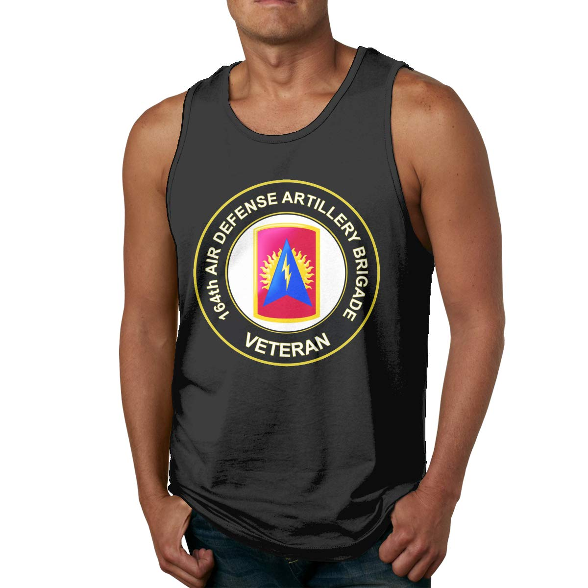 BGFYJN U.S Army 164th Air Defense Artillery Brigade Veteran Mens Cotton Undershirts Crew Neck Tank Tops