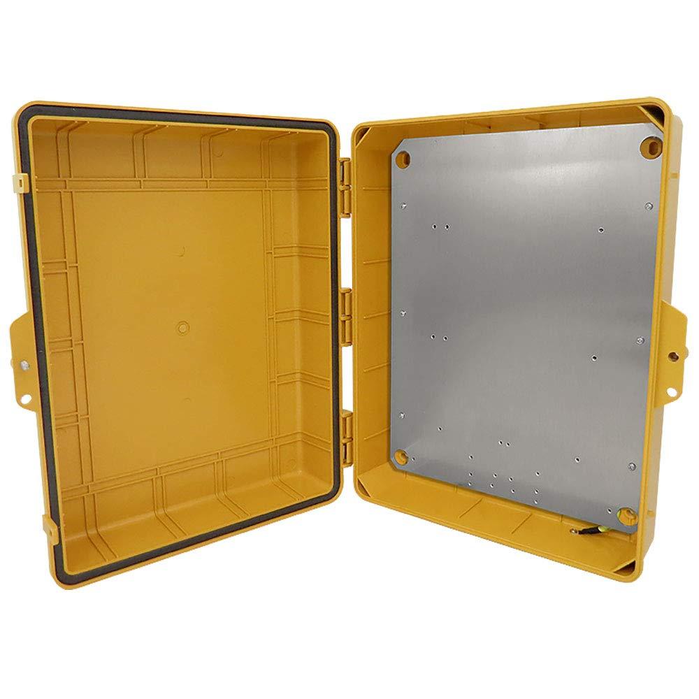 Altelix Yellow NEMA Enclosure (14'' x 9'' x 4.5'' Inside Space) Polycarbonate + ABS Tamper Resistant Weatherproof Rainproof with Aluminum Equipment Mounting Plate