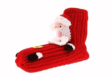 joyoldelf de Calcetines de Navidad | 3D Papá Noel Antideslizante Zapato hogar Suelo Calcetines | cálido Espesan Cama Calcetines para Las Mujeres, ...