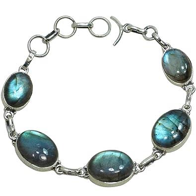Nouvelles Arrivées 9eda1 b49a4 CZgem Argent Sterling 925 Bracelet Labradorite – Femme Bracelets Argent  Sterling Faite à la Main 19,3 cm