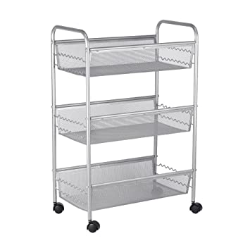 NEX 3 Tier Mesh Utility Cart, Storage Rolling Cart, Kitchen Basket Shelving  Trolley