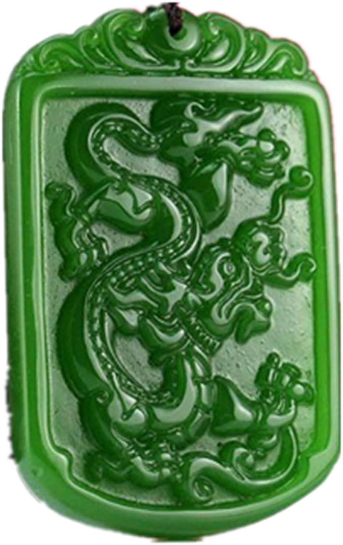 yigedan - Collar con Colgante de dragón Cuadrado de Jade Verde Chino Natural