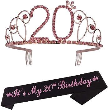 Amazon.com: Tiara de 20 cumpleaños y faja de 20 cumpleaños ...