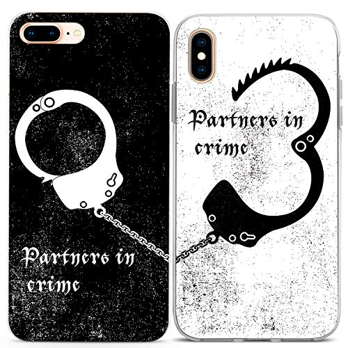 Lex Altern Couple iPhone Case Xs Max X Xr 10 8 Plus 7 6s 6 SE 5s 5 Partners in Crime TPU Clear Black White for Him Her Phone Cover Best Friend Anniversary Matching Lightweight BFF Girly Top (Best Friend Cases For Iphone 5)