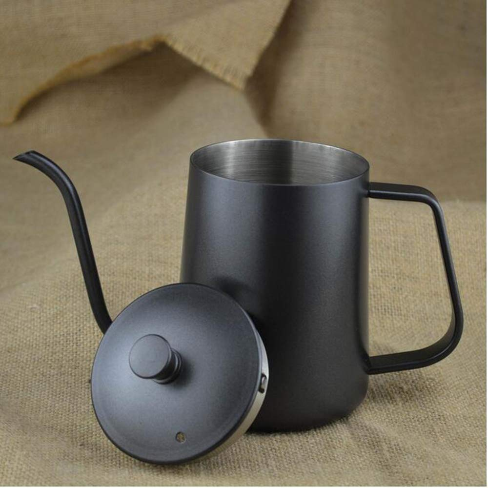 MCJL Household Coffee Maker, Stainless Steel Teflon Hand Punching Pot fine Mouth Coffee Pot Slender Mouth Hanging Ear drip with lid,600mlstainlesssteel