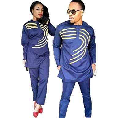 3048bff6da7 Amazon.com  African clothing embroidered dashiki top and pants for couple  blue man and woman same design  Clothing