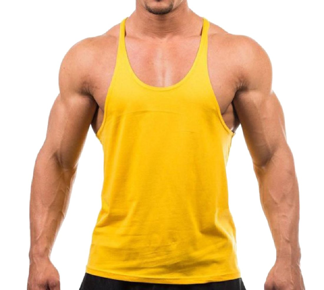 Tootless-Men Workout Stringer Pure Color Training Baselayer Top Yellow 2XL