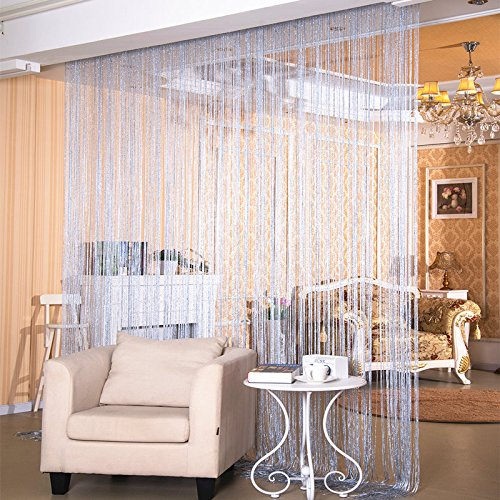 WPKIRA Window Treatments Line Screens Curtain Rare Flat Silver Ribbon Door String Curtain Thread Fringe Window Panel Room Divider Cute Strip Tassel Party Events 39×78 Inch 1 Panel Silver Grey