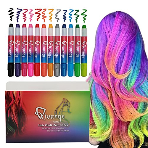 Qivange Hair Chalk Pens, Gift for Kids, 12 Temporary Hair Color Girls Toys Hair Dye for Adults, Great Birthday Gift for Boys Girls