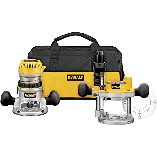 Dewalt DW618PKBR 2-1 4 HP EVS Fixed Plunge Base Router Combo Kit with Soft Case Renewed