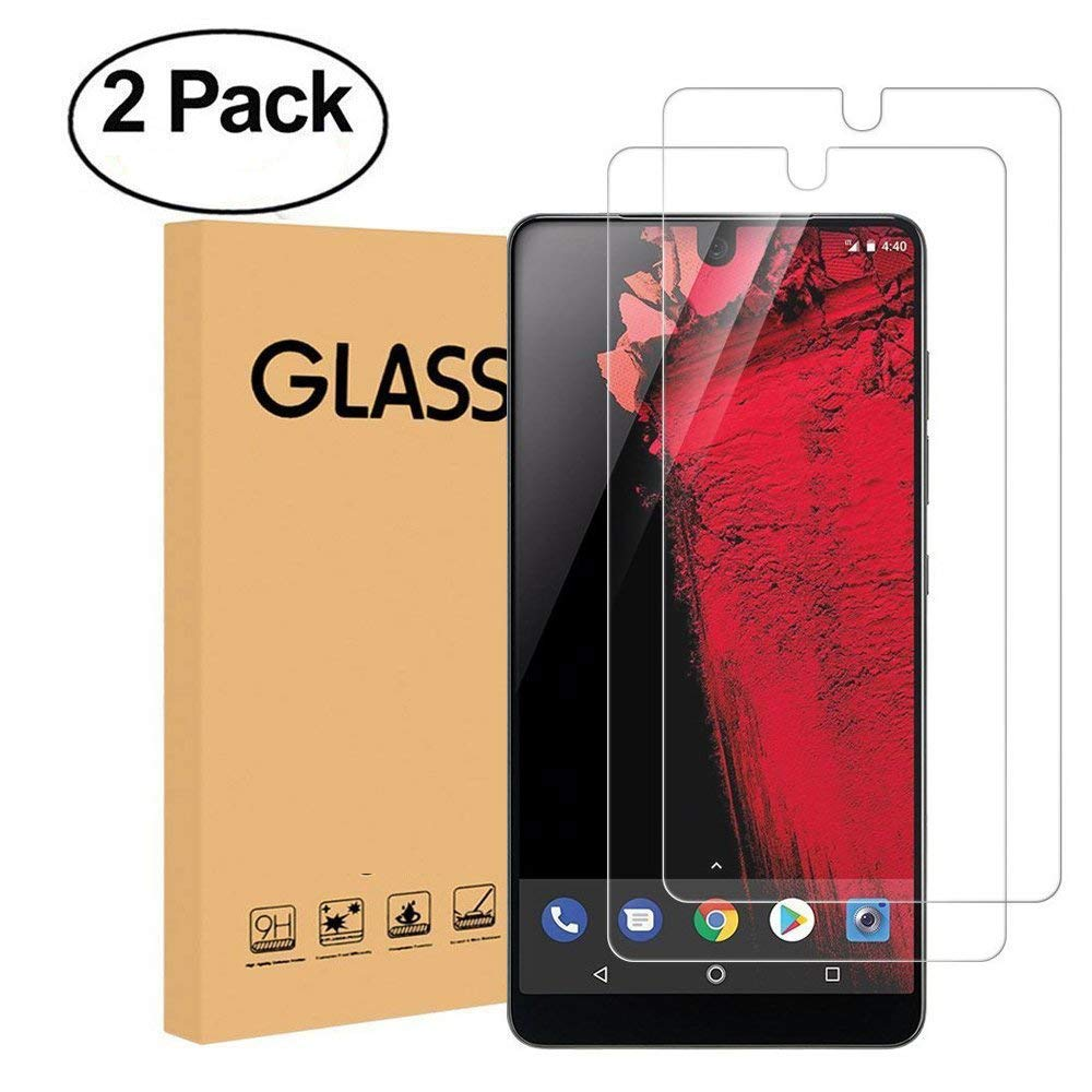 [2-Pack] Essential Phone (PH-1) Tempered Glass Screen Protector, KMISS [9H Hardness] Bubble Free Ultra Thin 2.5D Round Edge Lifetime Replacement Warranty for Essential Phone (2 PACK)