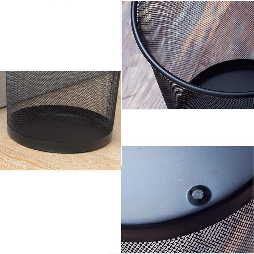 LJGXLJ LJGXLJ LJGXLJ Contenedor de Malla Circular - Cesta de Papel de desecho (Negro/Plata) - Medio ad170e