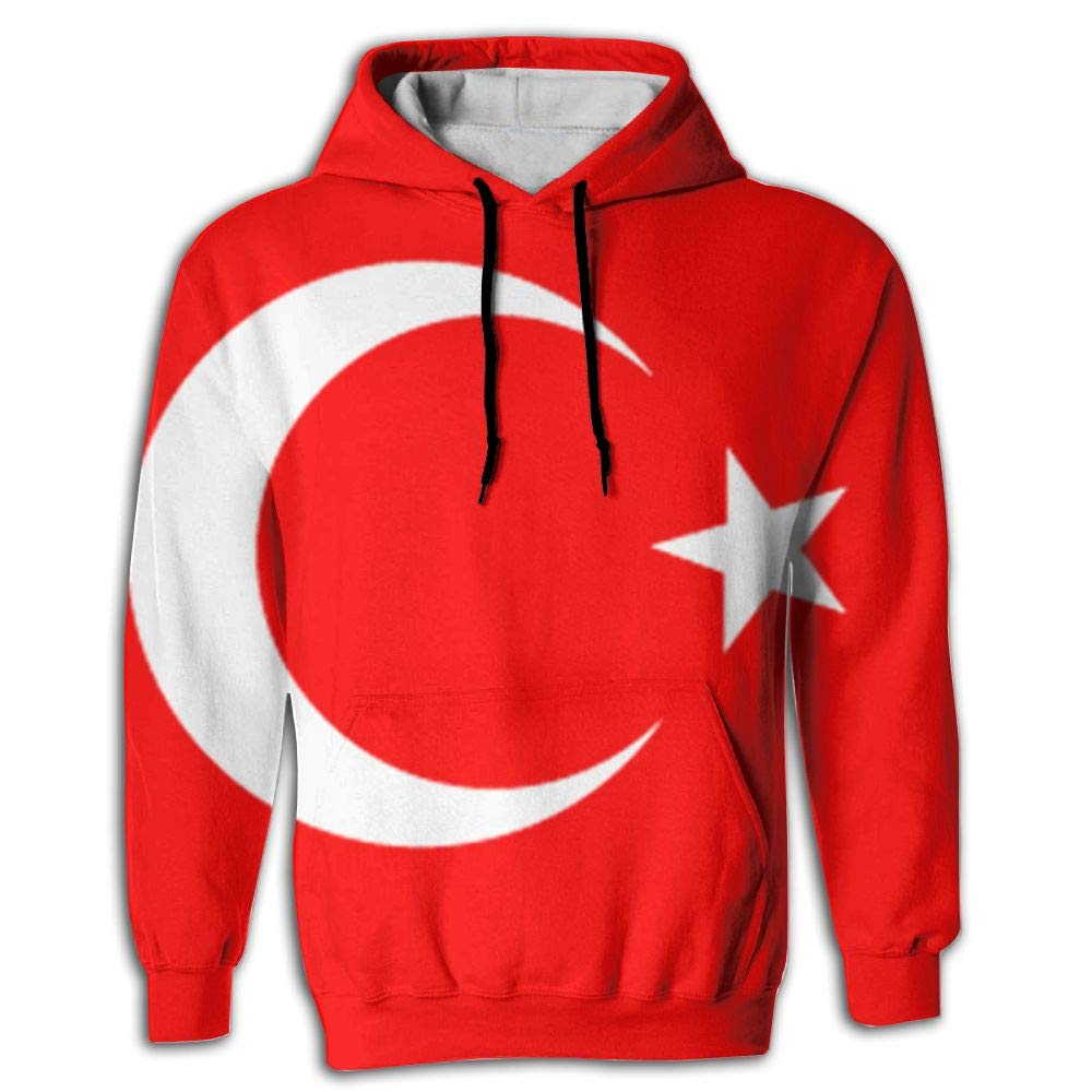 CHAN03 Unisex Realistic 3D Print Hoodie Hooded Sweatshirts Turkey Flag