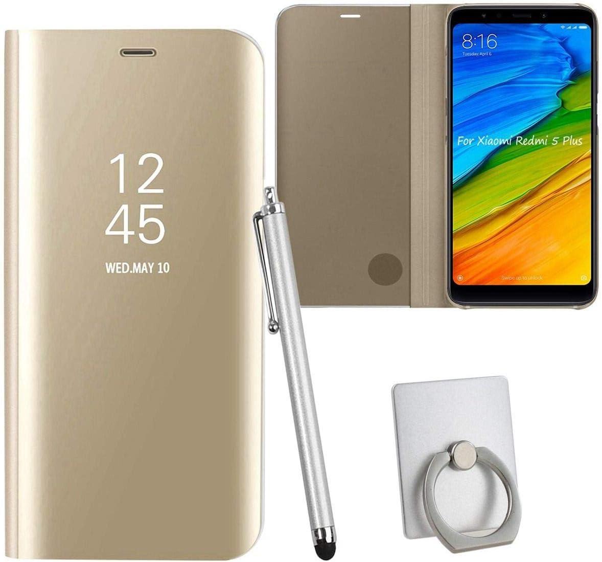 Sangrl Funda para Xiaomi Redmi 5 Plus, Ultra Delgada Shock Caja Espejo Espejo Translúcido Case Funda para Xiaomi Redmi 5 Plus - Gold