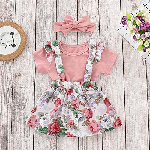 Baby Girls Ruffle Romper Floral Skirt Overall with Headband Outfits