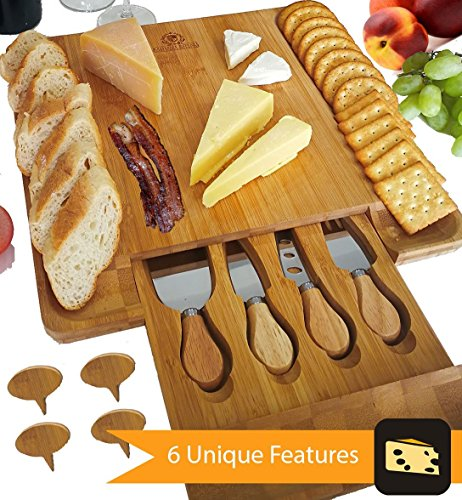 Cheese Board Knife Set (Cheese Board Set, Charcuterie Board, Cheese Cutting Plate, Bamboo Serving Tray with Cutlery Knives in Drawer, Big Meat Cracker Wood Platter Plate PLUS Large Space, Cheese Markers, Magnetic Safety Lock)