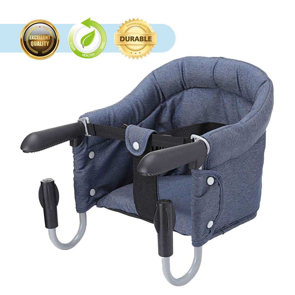 HOOMALL Fast Table Chair Safe Hook On Chair High Load Design Fold Flat Storage Tight Fixing Clip on Table High Chair Removable Seat (Navy)