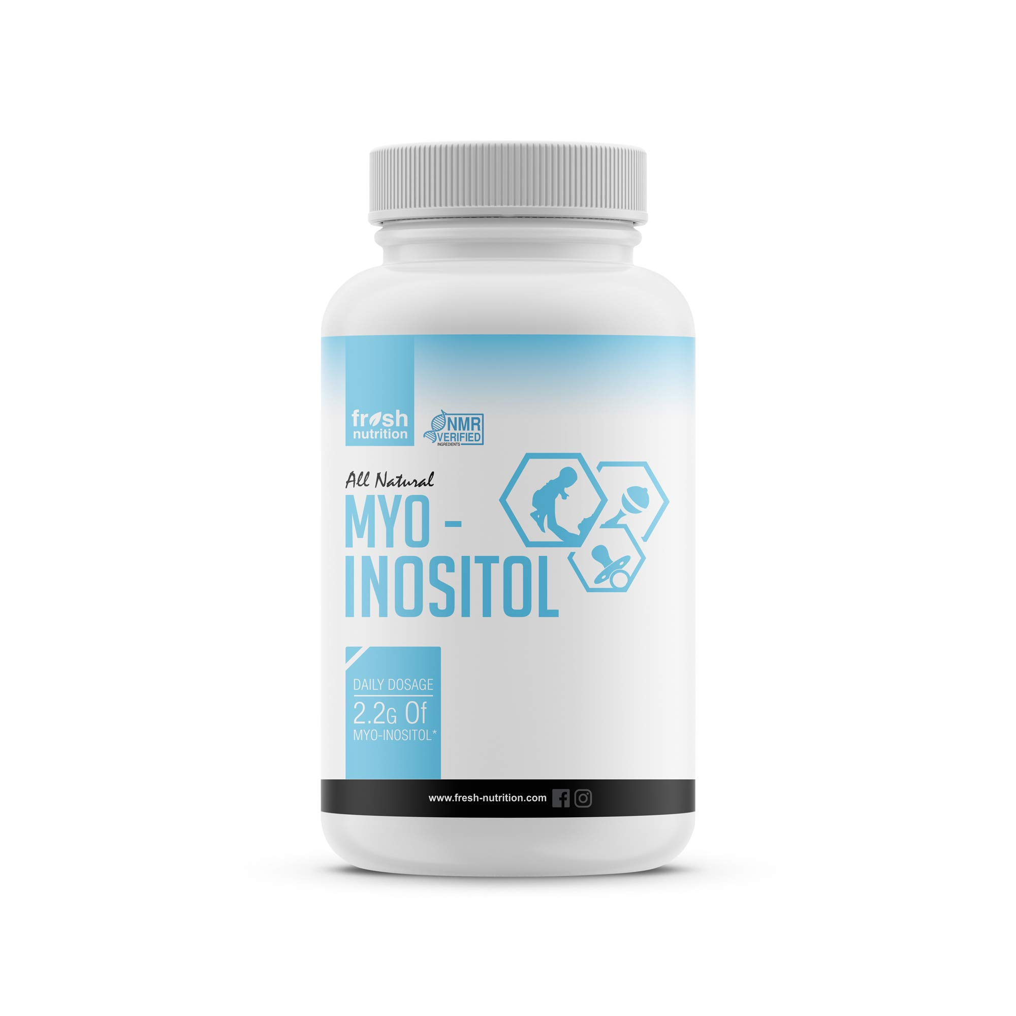 Myo-Inositol - PCOS - 2200mg - 120 High Potency Powder Capsules - Strongest and Best Value Myo Inositol - Potent Fertility and Reproductive Support - Healthy Ovulation and a Regular Cycle