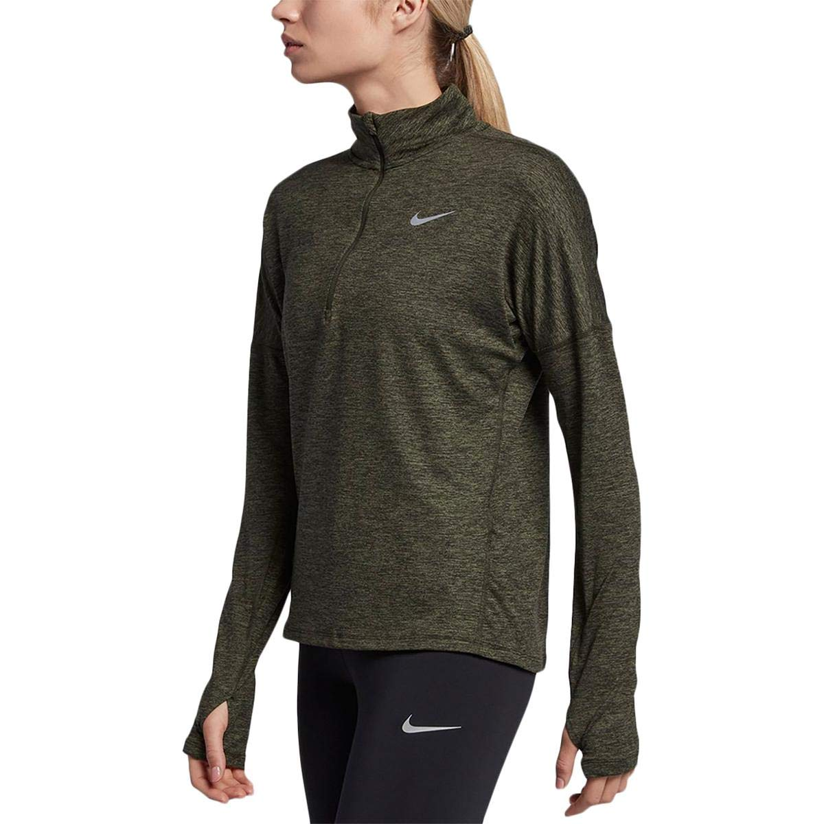 8b6fea9943b039 Nike Womens Element Running Workout 1 4 Zip Pullover Green XS at Amazon  Women s Clothing store