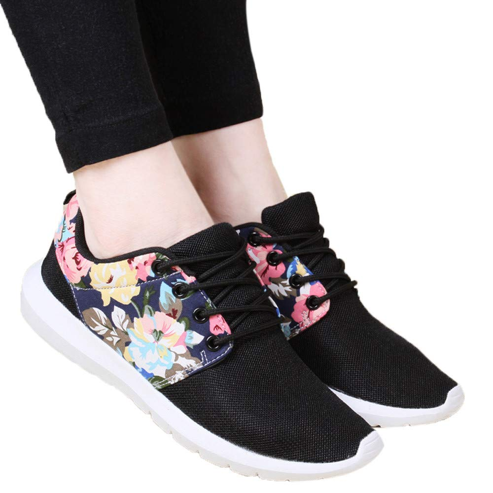 Print Flower Casual Sneakers Womens Trainers Breathable Shoes Mesh Low Top Shoes