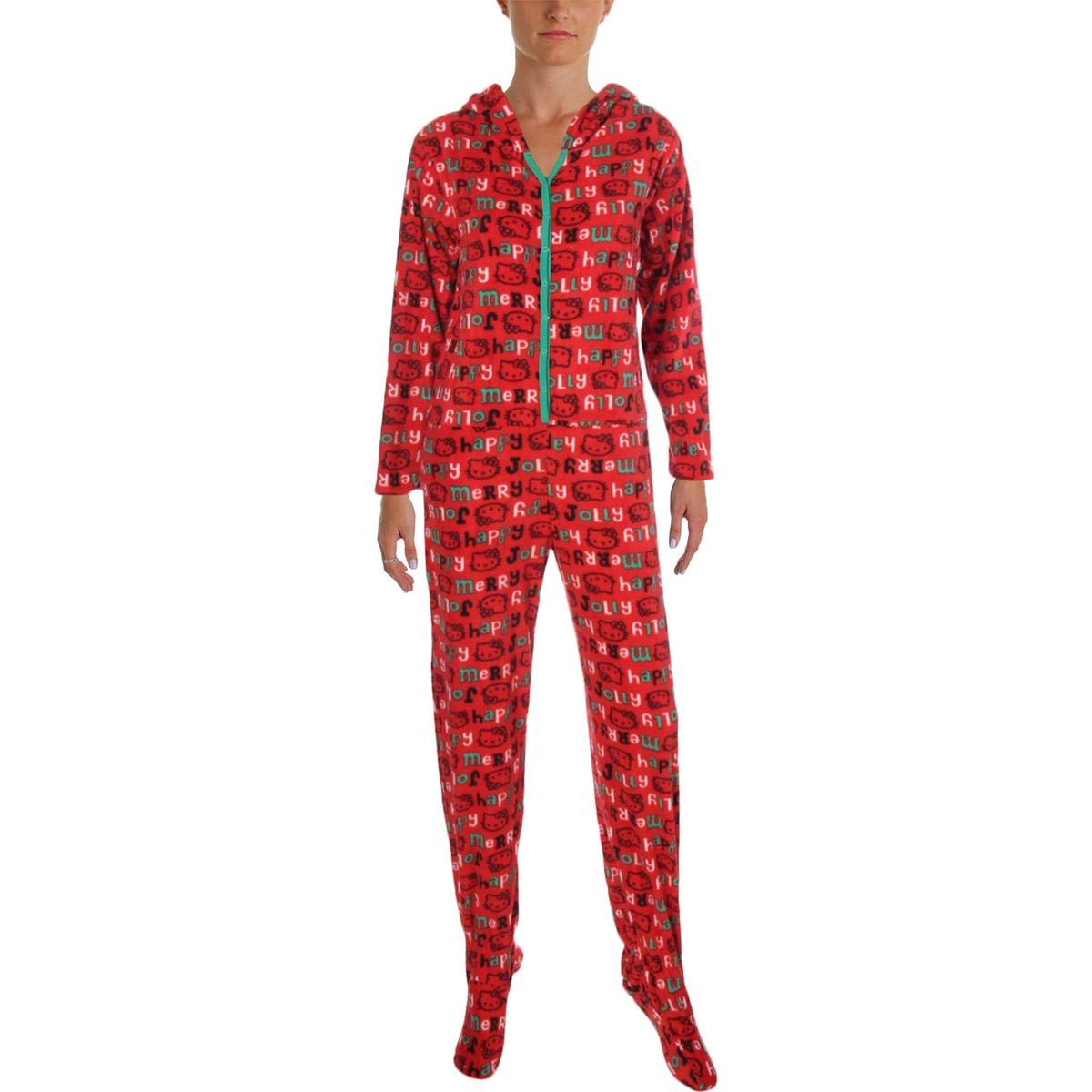 590bfaa2b Hello Kitty Womens Plus Size Snuggle Up Hooded Footed Jumpsuit Pajama 3X Red  at Amazon Women's Clothing store: