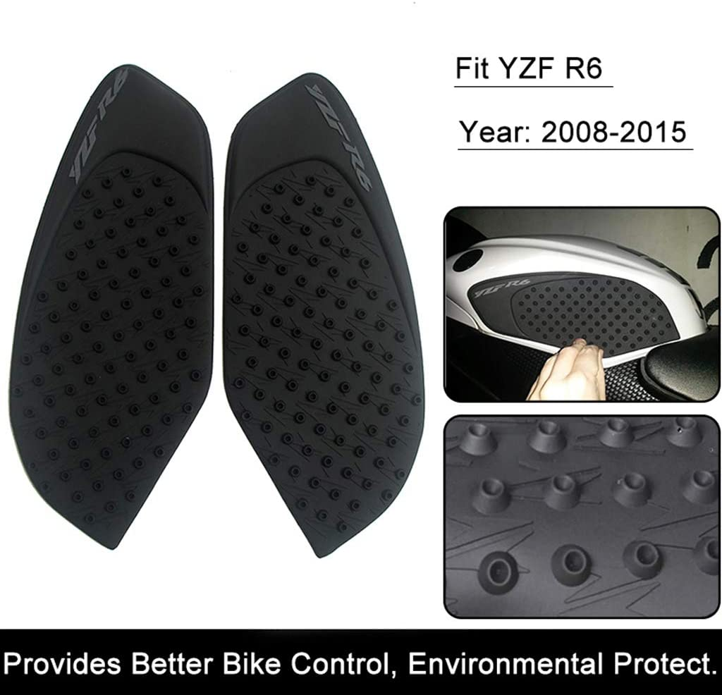 Black 3M Black//Clear Pair Motorcycle Tank Pad Protector Sticker Decal Gas Knee Grip Tank Traction Pad Side for YZF R6 2008-2015