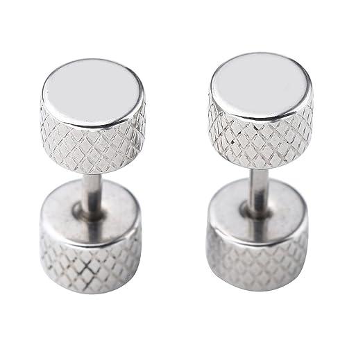 JSDDE, falso Dilatador de orejas Plug Barbell Piercing de acero redondo Inoxy pendientes moneda de 6 mm: Amazon.es: Joyería